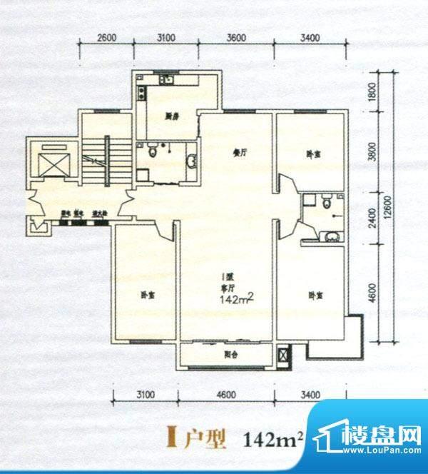清苑丰景I户型图 3室面积:142.00m平米