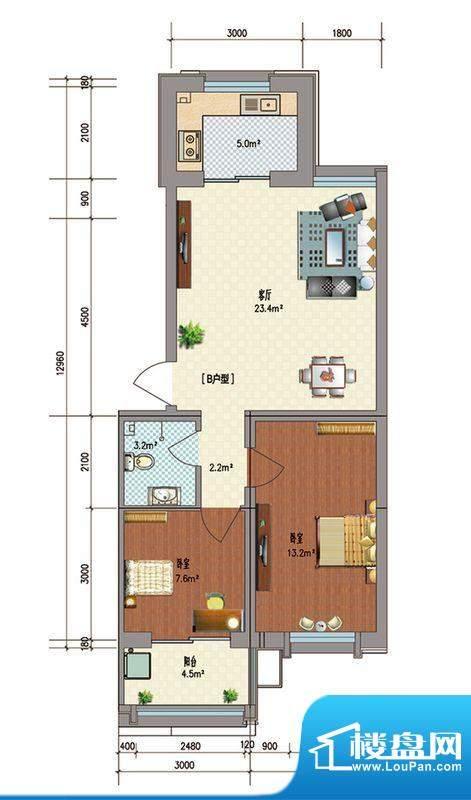 典雅居户型图 2室1厅面积:79.73m平米