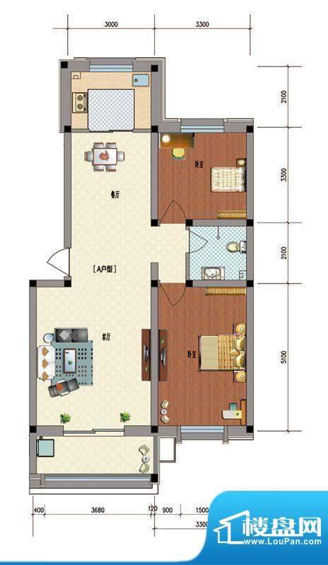 典雅居户型图 2室2厅面积:99.38m平米