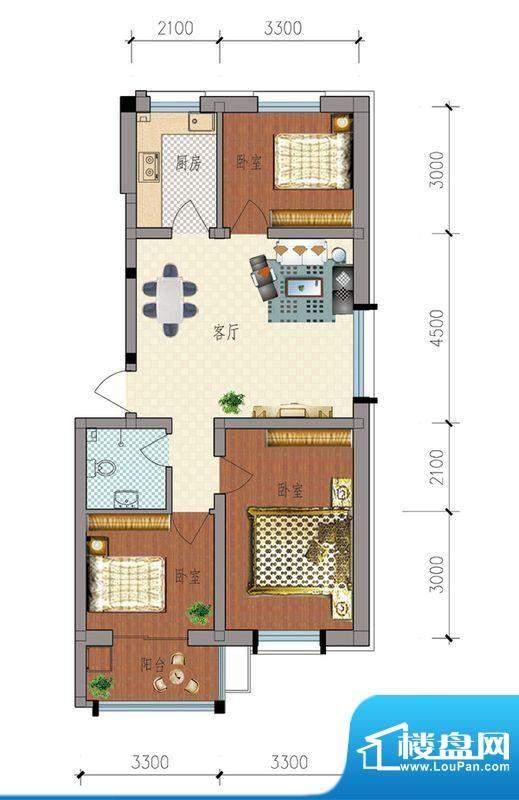 典雅居户型图 3室1厅面积:88.18m平米