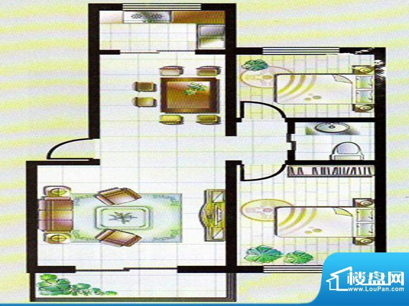 典雅居户型图 2室2厅面积:88.00m平米