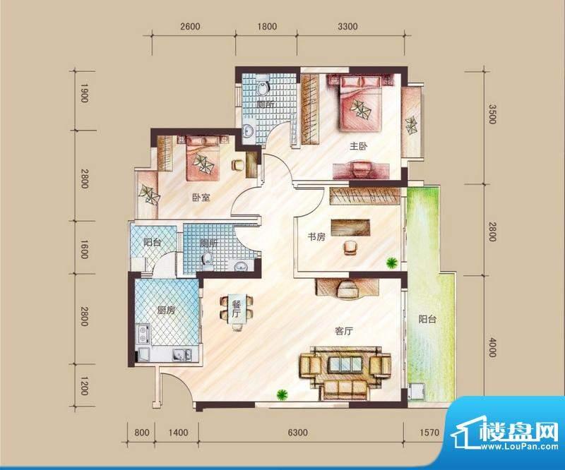 祥圣华苑1栋2单元A2面积:97.02m平米