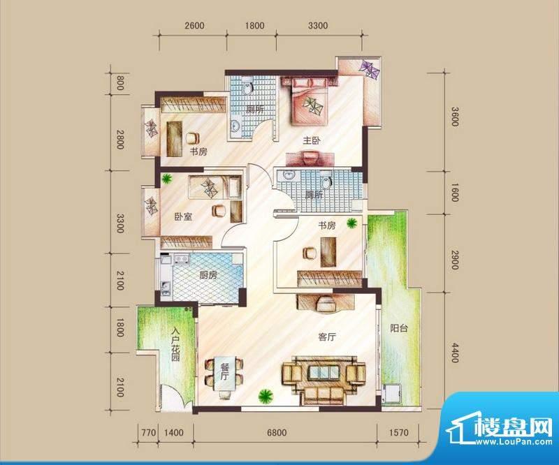祥圣华苑1栋1单元A1面积:119.62m平米