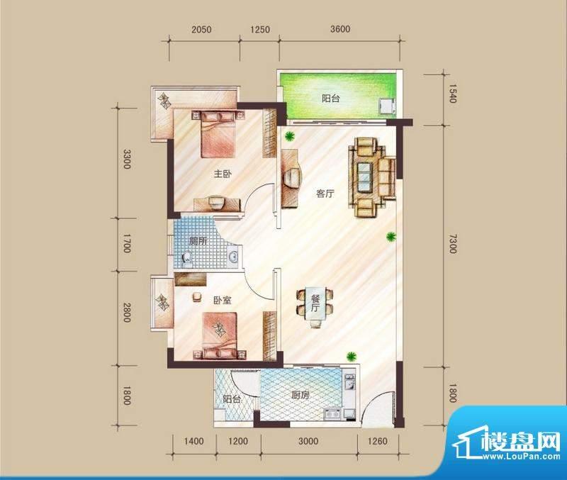 祥圣华苑1栋1单元/2面积:76.04m平米