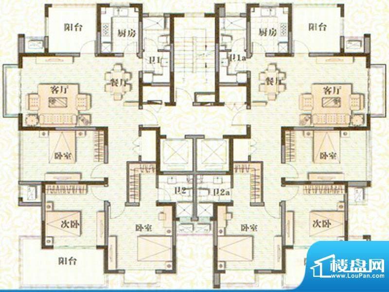 森林半岛户型图 4室面积:180.00m平米
