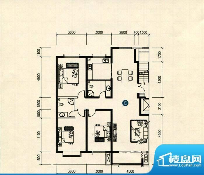 宏基月湖湾C户型 3室面积:142.22m平米