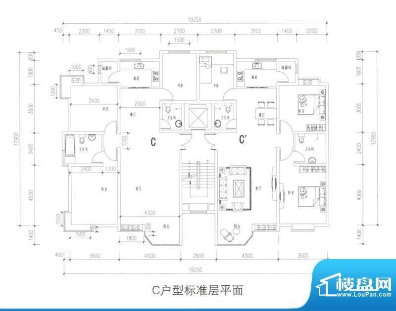 观澜国际C户型标准层面积:120.00m平米
