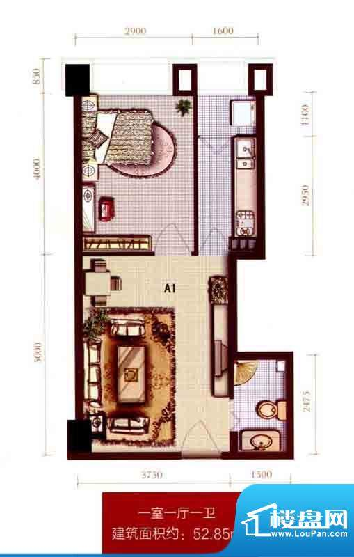 银座A1户型图 1室1厅面积:52.85m平米