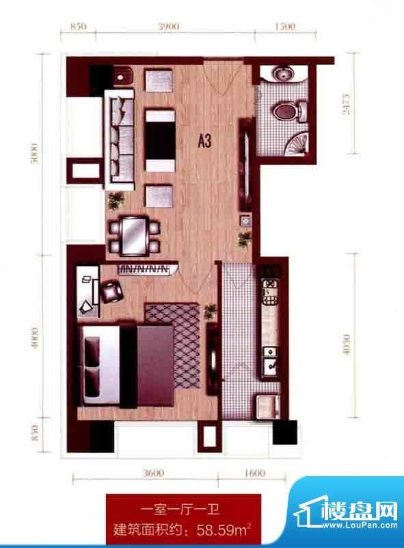 银座A3户型图 1室1厅面积:58.59m平米