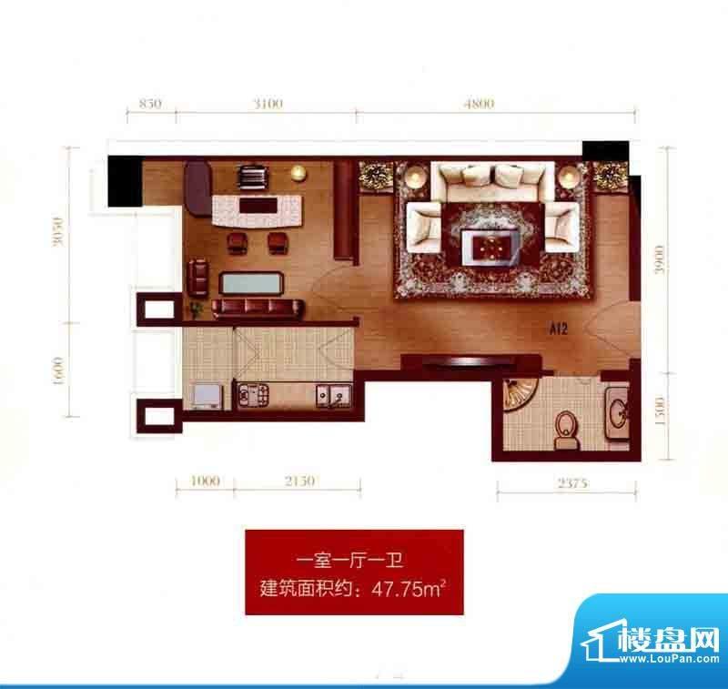 银座A12户型图 1室1面积:47.75m平米