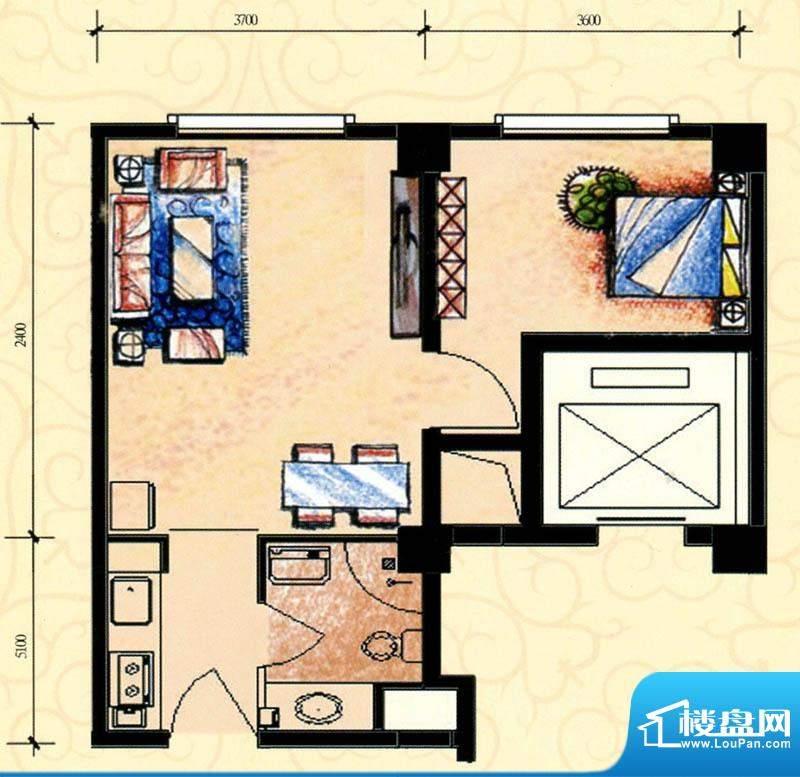 明珠美居E户型图 1室面积:60.00m平米