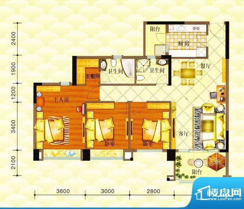 金华花园A户型 3室2面积:114.00m平米