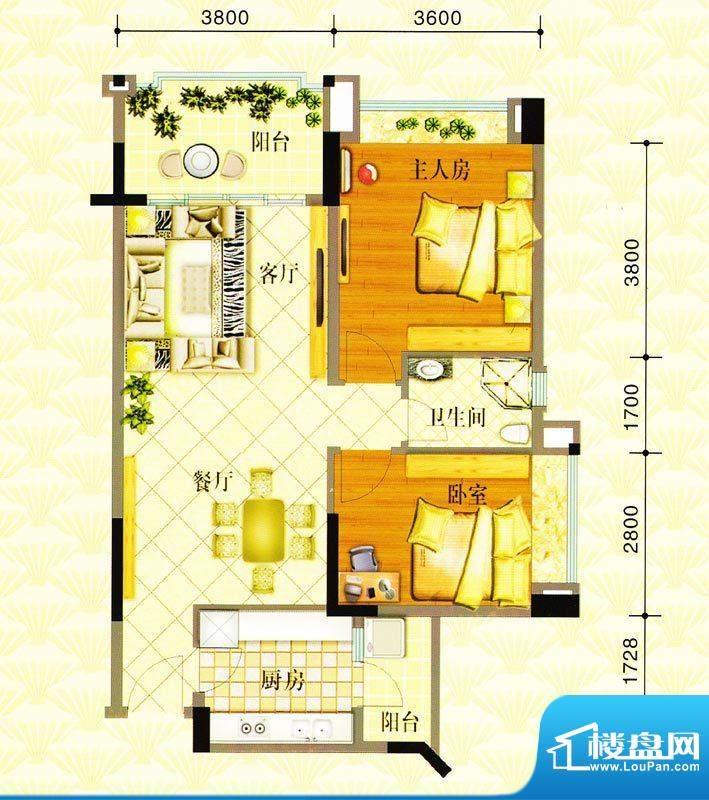 金华花园B户型 2室2面积:85.00m平米