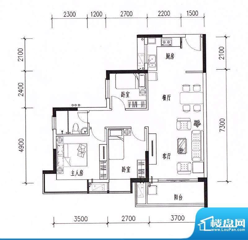 顺景蔷薇山庄四期第面积:89.99m平米