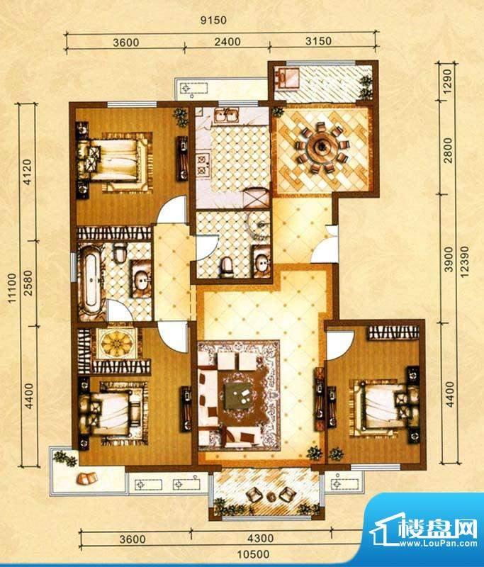 吉泰润园C6户型 3室面积:135.50m平米