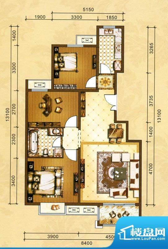 吉泰润园C5户型 3室面积:110.01m平米