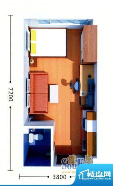 绿地21城B户型 1室1面积:38.25m平米
