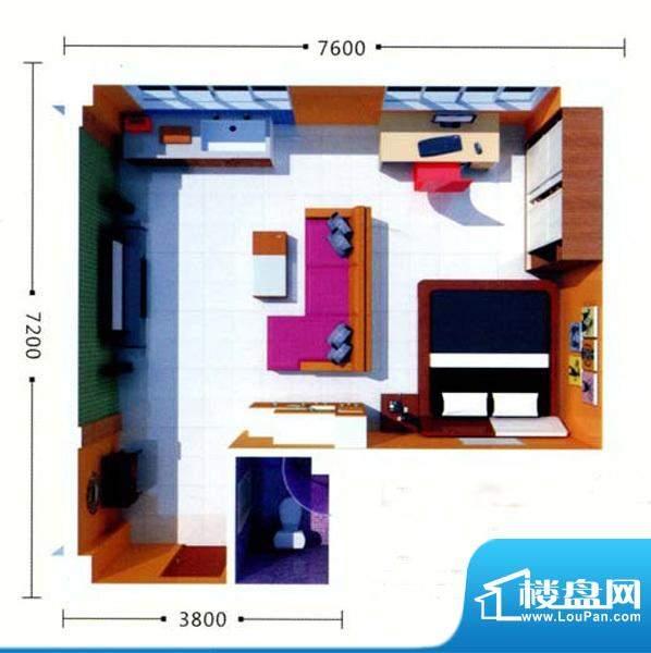 绿地21城A户型 1室1面积:67.21m平米