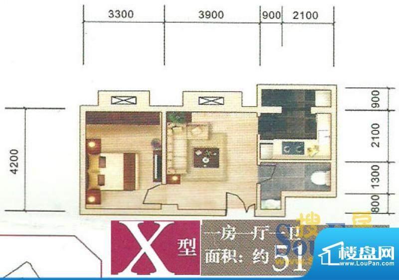 东丽上岛户型图 X 1面积:51.80m平米