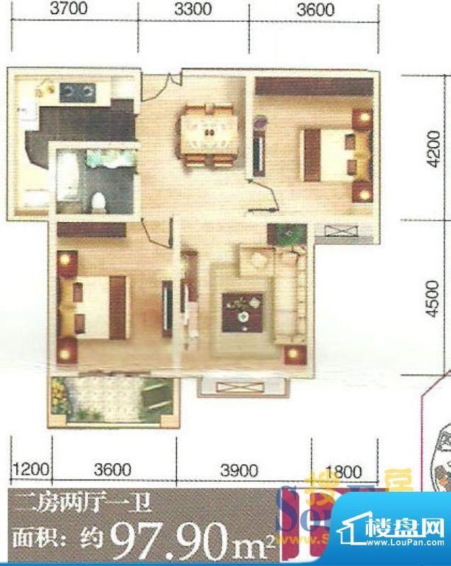 东丽上岛户型图B 2室面积:97.90m平米