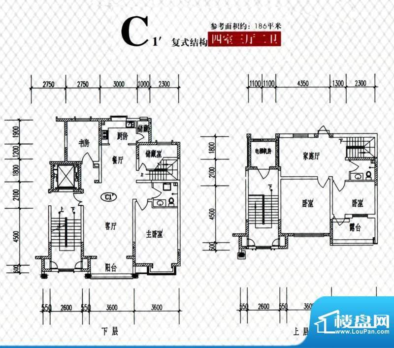 蓝山帝景C1复式户型面积:186.00m平米
