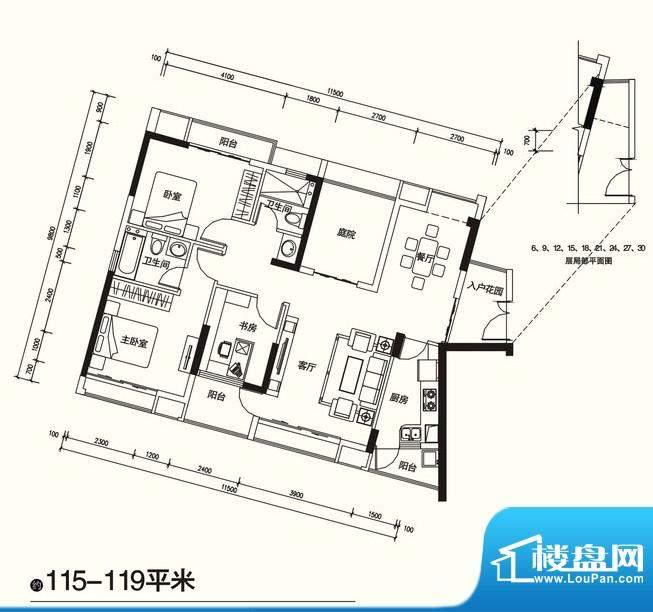 国宾壹号户型4 3室2面积:115.00m平米
