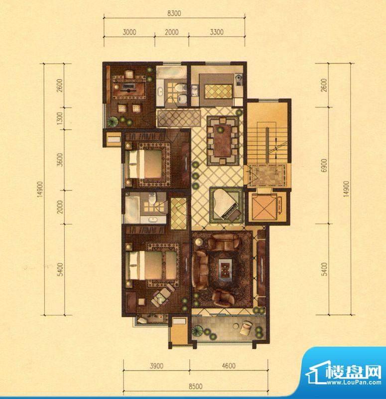 京能天下川J户型 3室面积:145.00m平米