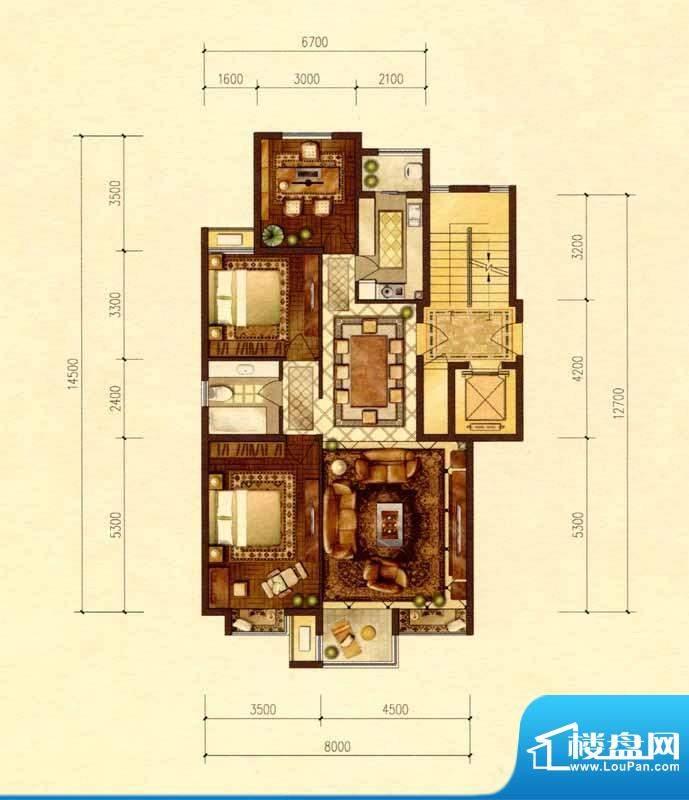 京能天下川C户型图 面积:117.92m平米