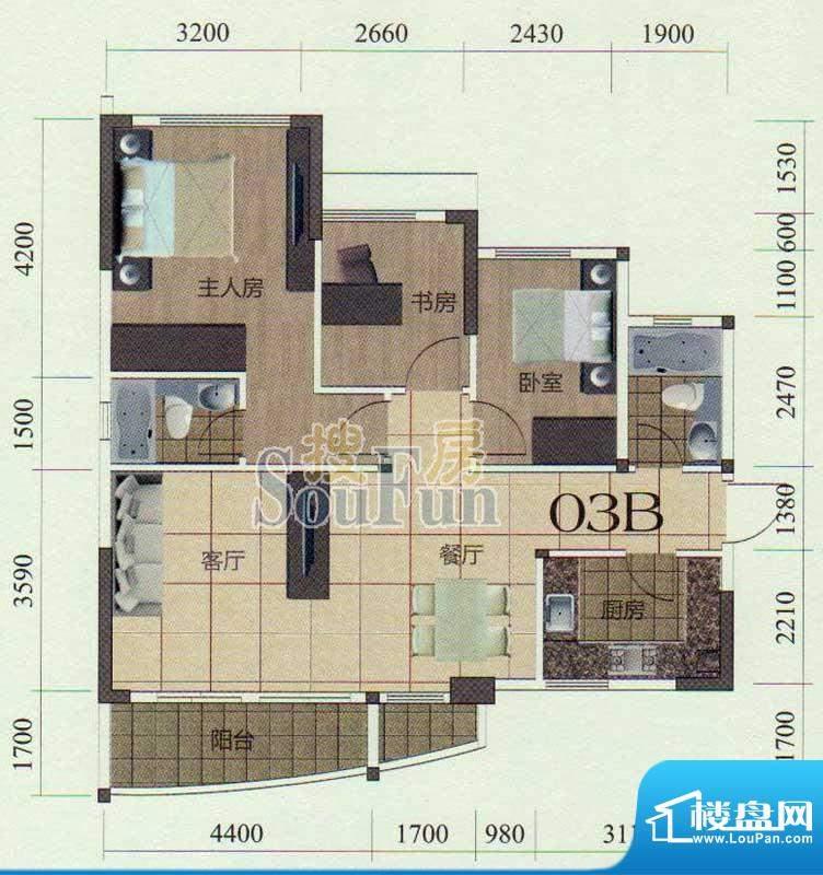 金茂华庭03B户型图 面积:106.00m平米