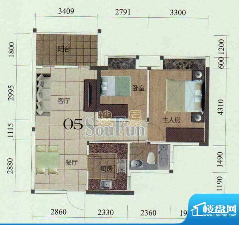 金茂华庭05户型 2室面积:78.00m平米