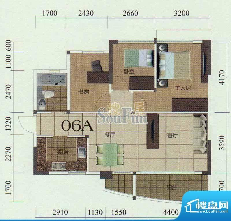 金茂华庭06A户型 3室面积:98.00m平米