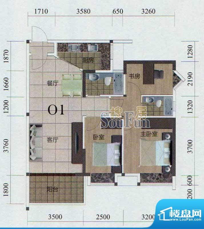 金茂华庭01户型 3室面积:96.00m平米