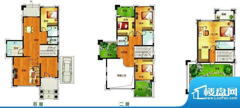 聚豪园F5户型 5室3厅面积:242.90m平米
