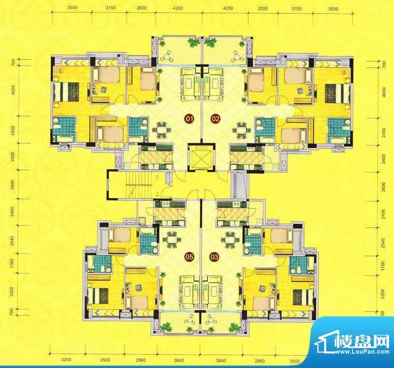 茵华花园8栋标准层平面积:0.00m平米
