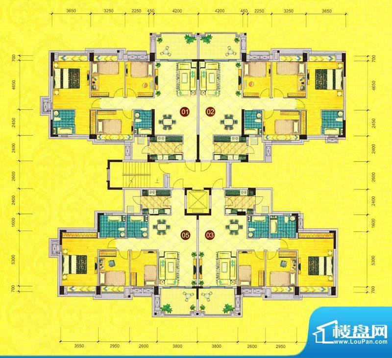 茵华花园6栋标准层平面积:0.00m平米