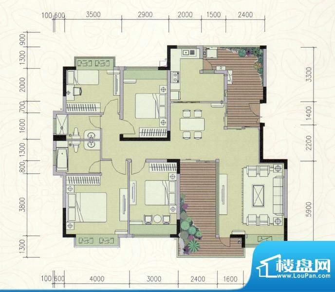 巴厘晓筑E标准 4室2面积:147.00m平米