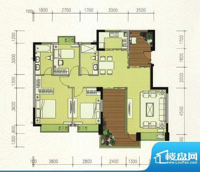巴厘晓筑C3标准 3室面积:117.00m平米