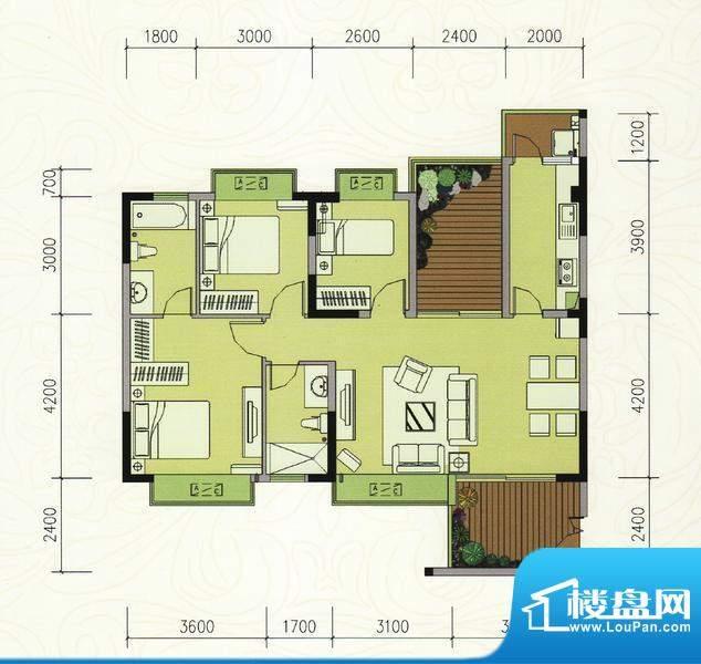 巴厘晓筑C2标准 3室面积:106.00m平米