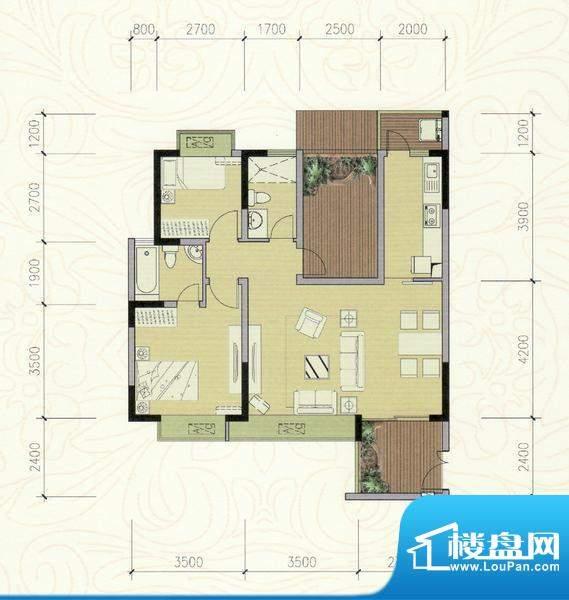 巴厘晓筑B2标准 2室面积:92.00m平米