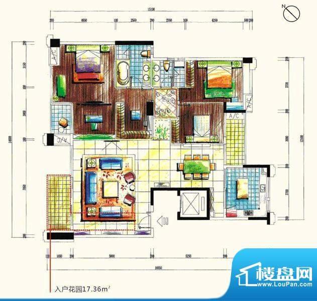 景观一品15栋 4室2厅面积:204.25m平米