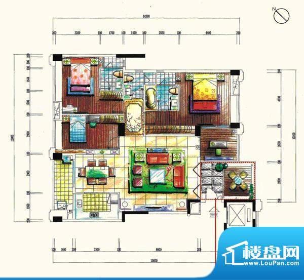 景观一品16栋 4室2厅面积:175.58m平米