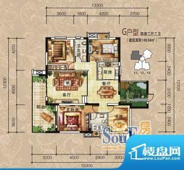 清江润园G户型 4室2面积:149.94m平米