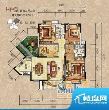清江润园H户型 4室2面积:133.97m平米