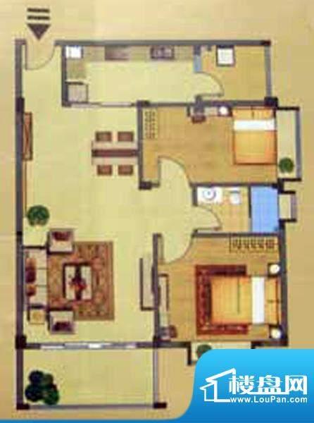 奕豪园B户型 2室2厅面积:89.00m平米