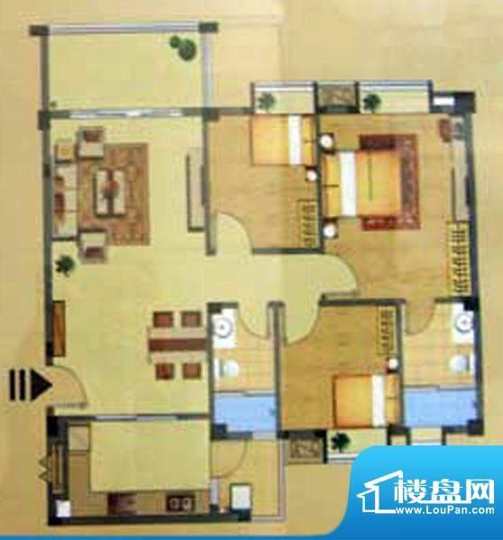 奕豪园C户型 3室2厅面积:104.00m平米