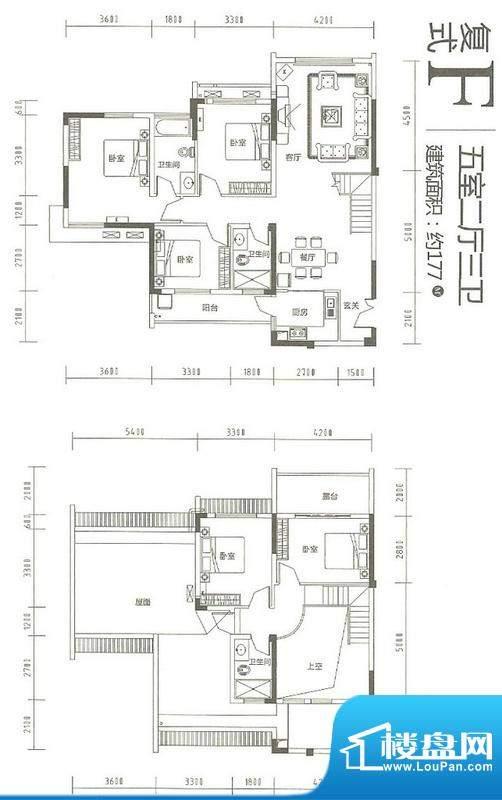 运河佳苑复式F户型 面积:177.00m平米