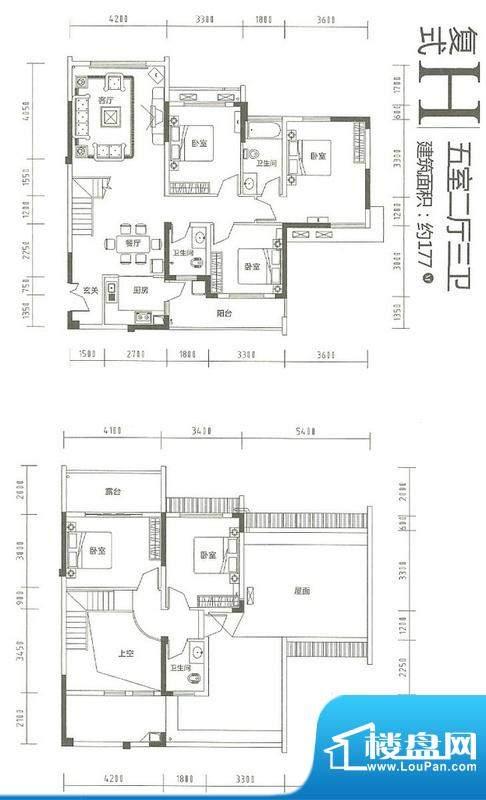运河佳苑复式H户型 面积:177.00m平米