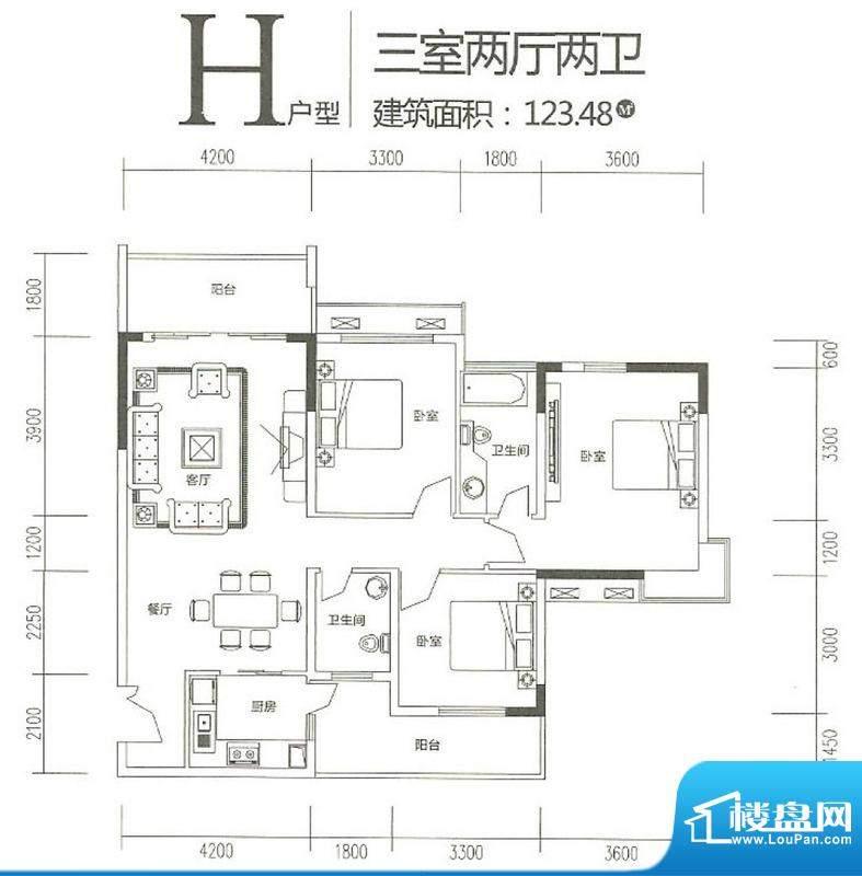 运河佳苑H户型 3室2面积:123.48m平米