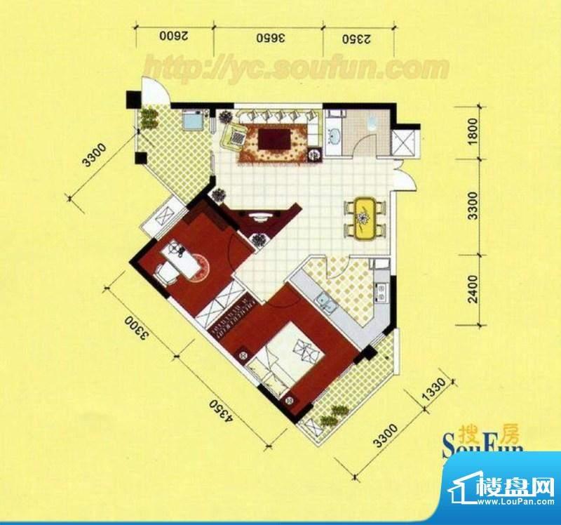 长江瑞景二期D户型 面积:83.00m平米
