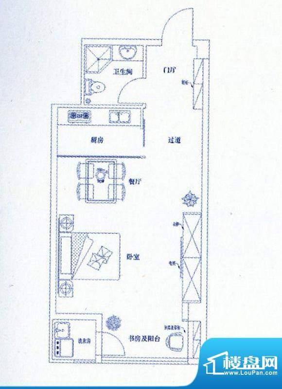 新港名仕花园公寓平面积:59.00平米